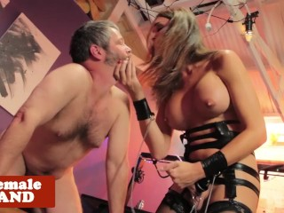 Busty tgirl dominates cumswallowing oldguy