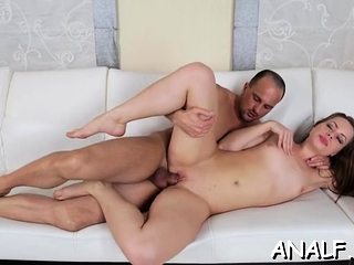 Skinny honey groans with schlong shagging her in rough anal