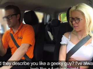 Extra hot blonde rides instructor in car