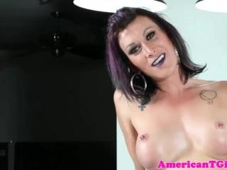 Purple hair tgirl jerks cock on pool table