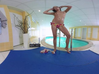 Wet Vanessa - Brunette cutie was swimming in the pool to exercise and...