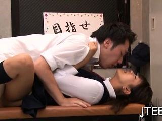 Gracious oriental schoolgirl strips bare and gets fisted