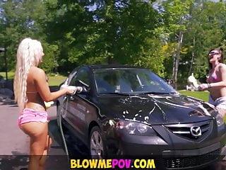 Blow Me POV - Big Tits Carwash Blowjob
