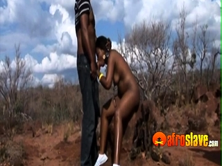Submissive sex slave from Africa fucking