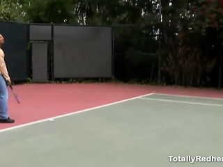Two bitches fucked by tennis instructor