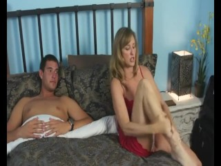 Stepmom and son share bed and end up fucking