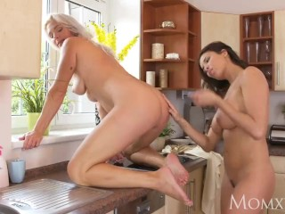MOM Amazing big tits MILFS munching on lovely wet pussies in the kitchen