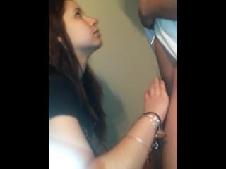 Bitchy girlfriend gives head, deepthroats and fucks in bathroom