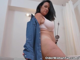 Euro milf Ria Black rubs her white cotton panties