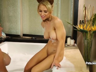 CrushGirls Peta Jensen and Alix Lynx are horny in the bubble bath