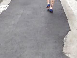 Wind blows up Japanese girl's skirt