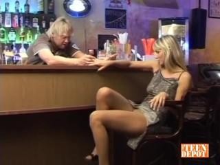 Blonde hottie fucked on bar