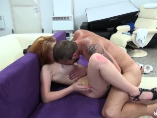 Short hair boring redhead get loads of cum on her tight pussy