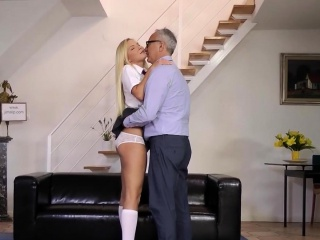 Gorgeous schoolgirl pleasing old mans cock