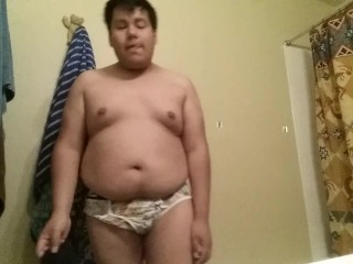 Chubby Boy Strips Then Shows Off Feet And Tiny Dick For Friend