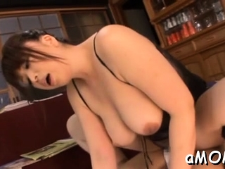 It takes 2 hard dicks to bang this naked japanese milf