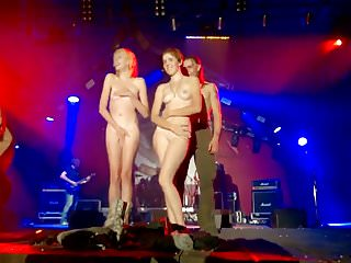 Holiday girls strip on stage