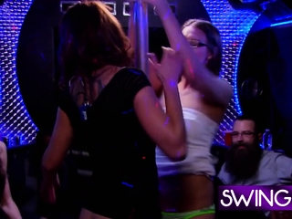 All the swinger bitches are onto the bearded guys cock