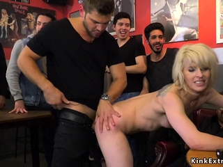 Small tits Euro blonde fucks in public