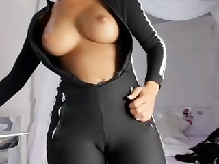 Perfect ass in black yoga pants and squirt . Part 2