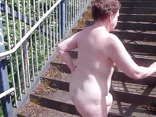 Naughty Mature's Daring Naked Railway Footbridge Walk