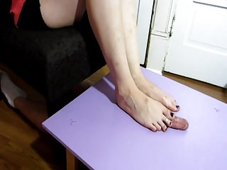 TSM - Bambi ballbusting and footjob on cock table