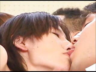 Tall Girls Tongue Kiss & Jerk Off Nerds