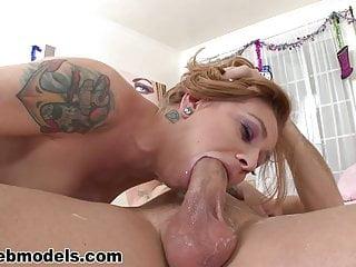 Petite redhead with big tits deepthroats a hard cock