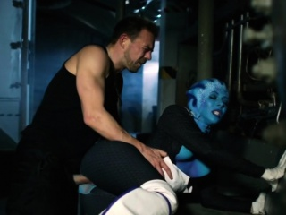 Fucking a blue extraterrestrial hottie in this porn parody