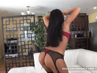 BACKSIDE Big Butt Slutt gets her Pussy filled with Cum