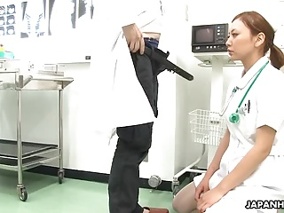 Nurse sucks off the doctor and gets spunked all over her fac