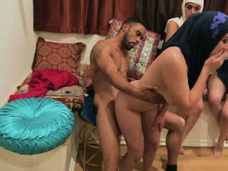 Hot Muslim besties feasting and sucking a big cock