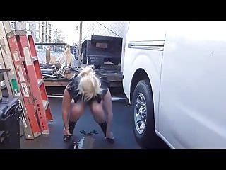 slutty blonde in public