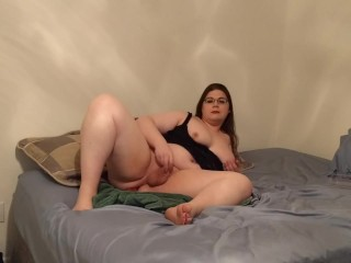 Amateur BBW transgurl masturbates and cums.