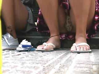 Girl Showing Upskirt Panties On Shop Steps