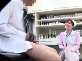 Asian nurse bows butt for pecker and endures heavy sex