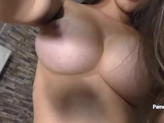 Amazing Pamela Jay masturbates with gold dildo after hot striptease
