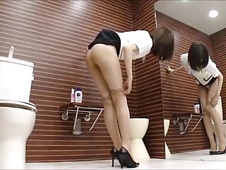 Girl changes pantyhose
