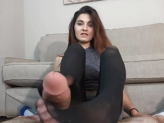 Beautiful Nylon Footjob POV