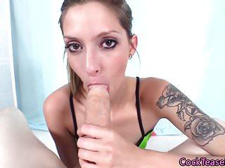 Edging fetish babe POV cocksucking in closeup
