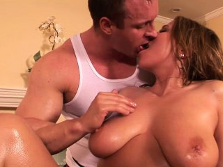 Oiled babe makes a guy cum
