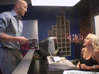 Hot Secretary With Huge Boobs Fucks In The Back Office