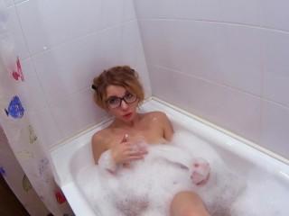 Underwater masturbating in bubble bathroom