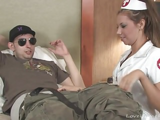Nurse treats her patient with a blow