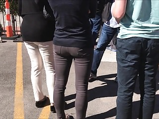 candid italian ass in jeans standing