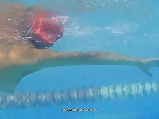Nipple slip of a swimmer at the pool